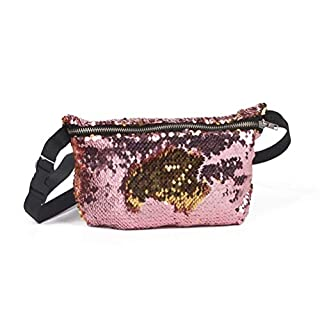 NUOLUX Double Color Sequins Waist Bag Casual Outdoor Sports Bag (Gold + Pink)
