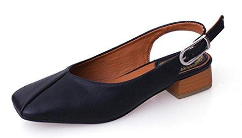 chaussures tête carrée grand-mère femmes fête d'été avec les sandales boucle sandales à talons bas Black