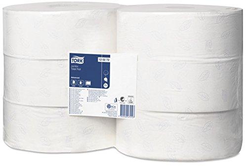 Tork 120272 Rollos wc de larga duración de 2 capas compatible con el sistema higiénico Jumbo Tork T1, 6 rollos x paquete, blanco