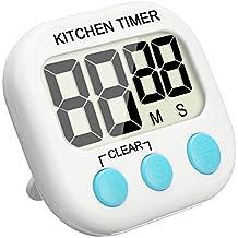 Temporizador Digital, EIVOTOR Temporizador de Cocina, Reloj de Cocina con Pantalla Extra Grande, Alarma, Imán, Base Retráctil y Gancho para Colgado - Azul