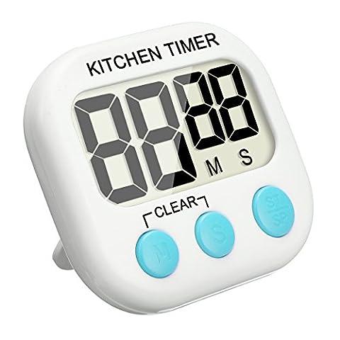 Minuterie de cuisine numérique, EIVOTOR Minuterie de Cuisine Magnétique Numérique 24 Heures Minuterie de Cuisine avec écran Extra Large d'affichage et Alarme Minuteur, Support Aimanté et Support Rétractable Crochet (bleu)