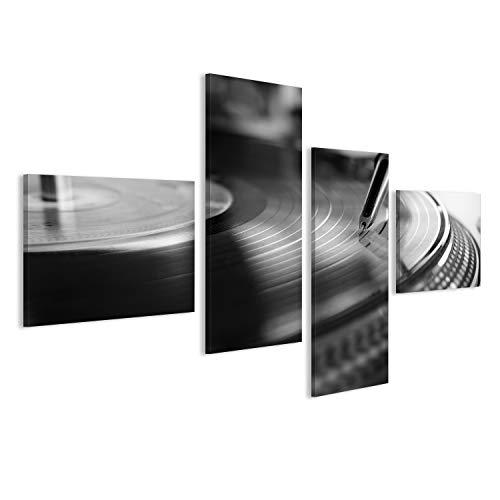 Quadro moderno lettore in vinile, tecnologia audio analogica per DJ che suona musica digitale, close up apparecchiature audio per disc jockey in bianco e nero Stampa su tela - Quadri moderni x poltrone salotto cucina mobili ufficio casa - fotografica formato XXL HHD