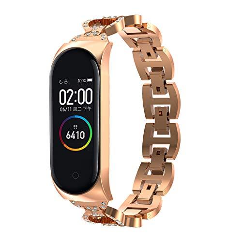 QHJ Armband Mi Band 4,Uhrenarmband für Xiaomi Mi Band 4,Edelstahl Armband Diamant Smart Watch Band Strap für Xiaomi Mi Band 4 Armband mit Diamantarmband (Rose Gold)