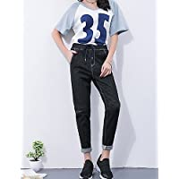TT&NIUZAIKU Mujer Tiro Alto Perneras Anchas Pantalones - Un Color, Blue, XL