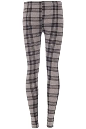 WOMENS GREY TARTAN CHECK LEGGINGS JEGGINGS PANTS TROUSERS TIGHTS SUMMER (ML (12-14))