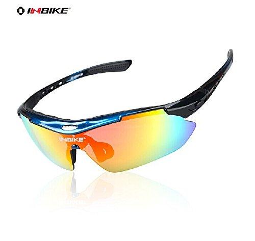 Gafas de ciclismo INBIKE a prueba de rayos UV, polarizadas con 5 lentes remplazables, con 3 colores de marco, azul