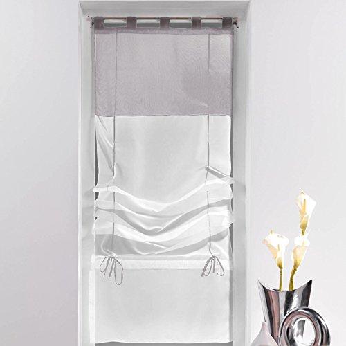 Douceur d'Intérieur Weiche Innenmarkise, gerade Segelform, Polyester, Keramik, weiß/grau, 180 x 45 cm