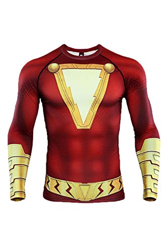 Shazam Kostüm Superheld - MingoTor Herren Superheld Shazam! Kurzarm Bedrucktes T-Shirt Cosplay Kostüm Rot