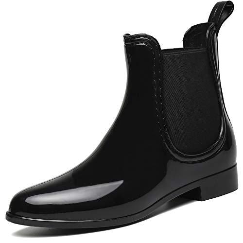 SAGUARO® Damen Kurzschaft Stiefel Gummistiefel Gummistiefeletten Regenstiefel Chelsea Boots,Schwarz - 38 EU