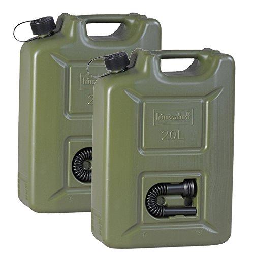 2er Set-Benzinkanister 20L oliv NEU 2x ARMY Kraftstoff-Kanister Profi 20 Liter