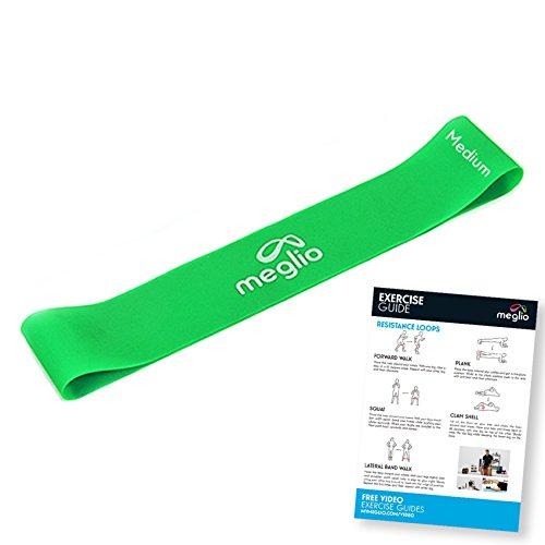meglio Widerstandsband Loop - Loop Band/Fitnessbänder / Gymnastikbänder für Yoga, Pilates, Rehabilitation, Training - kostenloses Übungs-Guide inbegriffen (1 x grün (mittel))