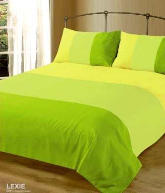 Double Bed Duvet / Quilt Cover Bedding Set Lexie Lime Green Plain 3 Tone by Intimates