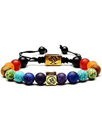 High Quality Moneekar Jewels 7 Chakra Lava Rock Bracelet Healing Balancing Genuine Leather Bracelets with Magnetic Clasp Tiger Eye Agate Howlite Bracelet for Men