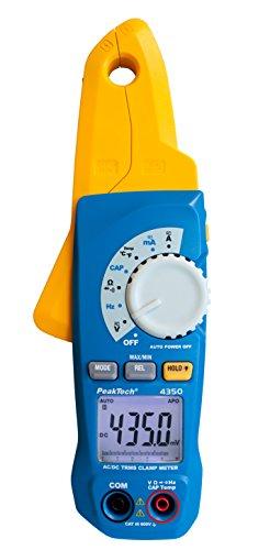 PeakTech 4350 - Pince Ampèremétrique True RMS 80A AC/DC, Multimètre Numérique, Pince de courant, Autorange, 4000 counts, Voltmètre Sans Contact, Ampèremètre, Testeur de Continuité - Max 600V