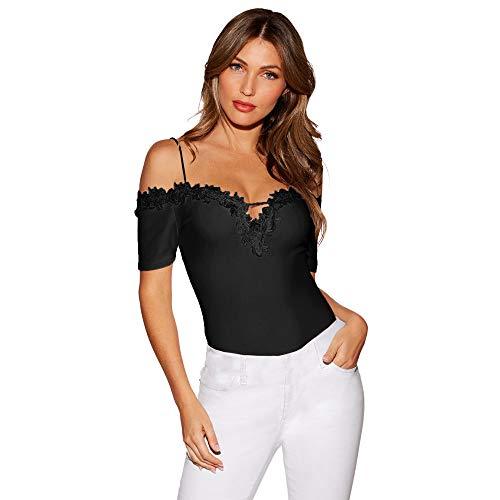 bluestercool Damen Sexy V-Ausschnitt aus der Schulter Sling Kurzarm Hemd lässig Spitze kalte Schulter Tops T-Shirt Bluse - Kalte Schulter Bauern Top