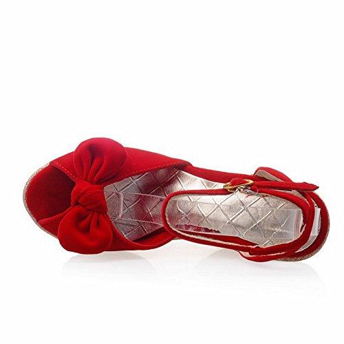 AllhqFashion Damen Fischkopf Schuhe Schnalle Nubukleder Rein Hoher Absatz Sandalen Rot