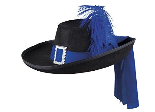 erdbeerloft - Damen Karnevalsaccessoire- Hut Musketiere, Blau (Musketiere Kostüm Für Mädchen)