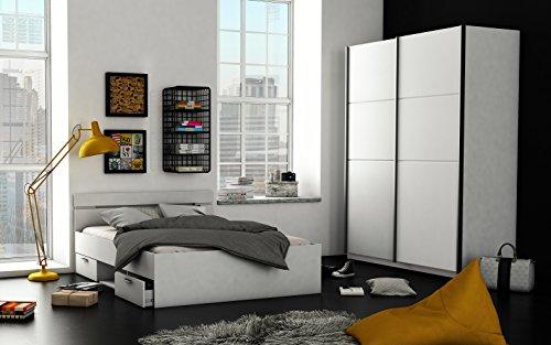 Futonbett Jugendbett Einzelbett Bett Bettgestell Schubkästen Doppelbett Ehebett Holzbett 140×200 Weiß Kopfteil Bilira
