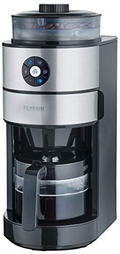 SEVERIN Kaffeeautomat mit Mahlwerk, Für Kaffeebohnen und Filterkaffee, Timerfunktion, Automatische Abschaltung, 6 Tassen, KA 4811, Edelstahl/Schwarz