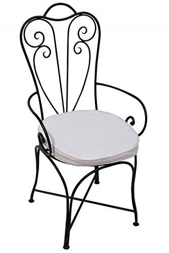 eisenstuhl garten ORIGINAL Orientalischer Stuhl Gartenstuhl aus Metall Schwarz Marbella | Marokkanischer Balkonstuhl Inkl. Sitzkissen Stuhlkissen | Eisenstuhl als Bistrostuhl | Mediterrane Deko im Garten oder Balkon