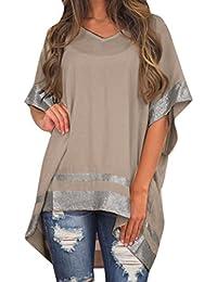 Mujer Blusa verano,Sonnena ❤ ❤ Talla grande extra Suelto blusa manga corta con lentejuelas decoración para prime mujer casual elegante…