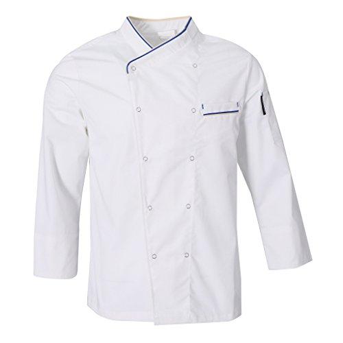 Fenteer donna uomo top giacche da chef camicie da cuoco abbigliamento da lavoro ristorazione - bianca, l
