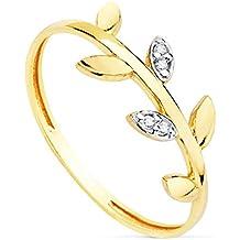 84a7201b52b4 Alda Joyeros Anillo Mujer Oro Bicolor 18K Branch sortija Hojas Rama