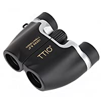 TTIO Binoculars Black Folding Portable High Definition and Blue Film Coated 10X22mm Zoom Porro Prism Optics Binocular Telescope With hand strap For Travel and Sports Bird Watching