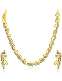 Sukkhi Graceful Gold Plated Wedding Jewellery Austrian Diamond Necklace Set For Women (2724NGLDPF1000)