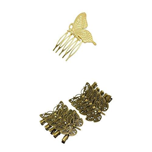 MagiDeal 11 Piezas Vintage Mariposa Gótico Filigrana Pinza de Pelo Traje de Fiesta Tocado