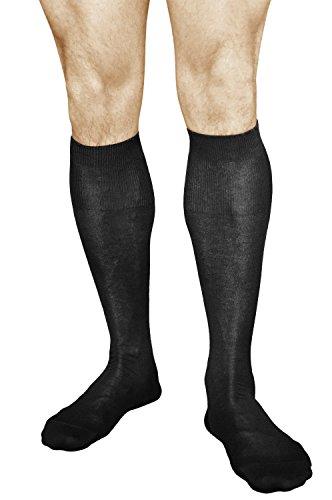 Knee Length Dress Socks for Men 100% Cotton (2 PAIRS) Black High Thin Breathable, Vitsocks