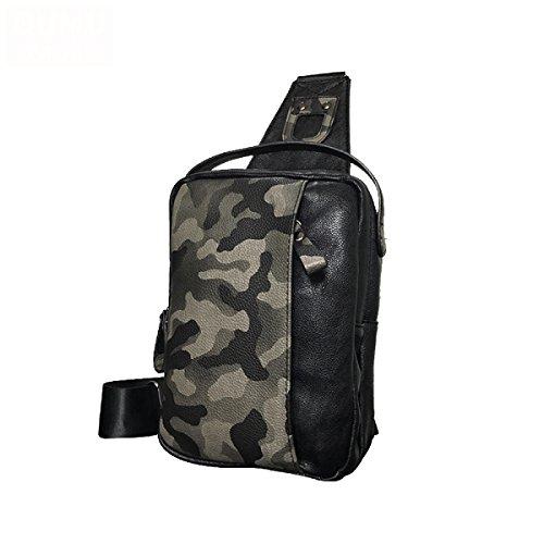 Yy.f Männer Brusttasche Multi-Purpose Schulter Tarnung Herren Tasche Leder Rucksack Lässige Umhängetasche Tägliche Arbeit Kreuz Rucksack Spielen,Black-17*5*24cm