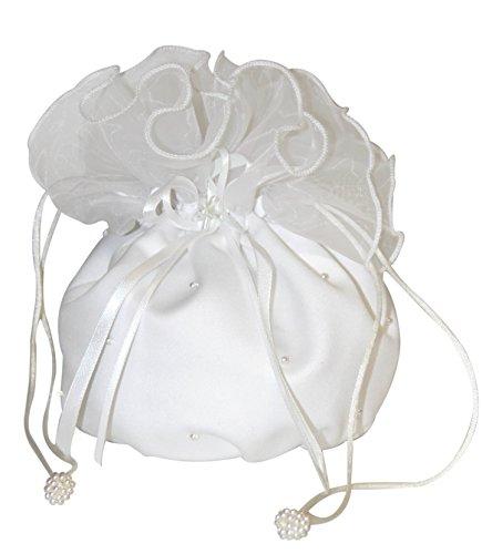 hochzeits-shop-hamburg Brauthandtasche,Zugbeutel mit Perlen u.Blumen weiß (Handtasche Blume Weiße Satin)