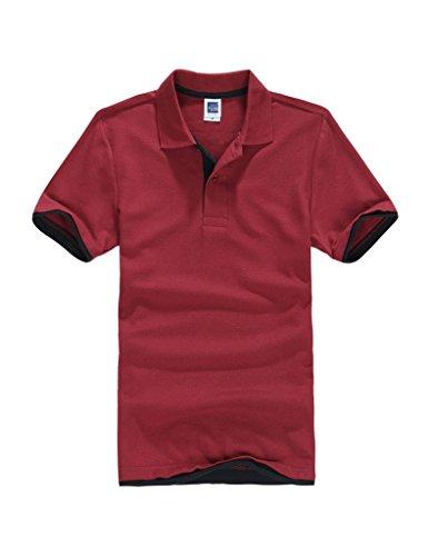 Legou Herren T-Shirt Slim Fit Noos Super Modern super Qualität 15 Farben 5Größe Basic Polo Tee Wein Rot+Schwarz XXXL -