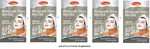 Schaebens Reinigende Detox Gesichtsmaske - mit Rügener Heilkreide, Allantoin, Panthenol und Süßholz-Extrakt - (5 x 2 Einheiten. 5 mL je Einheit - Für 10 Anwendungen) - Für alle Hauttypen