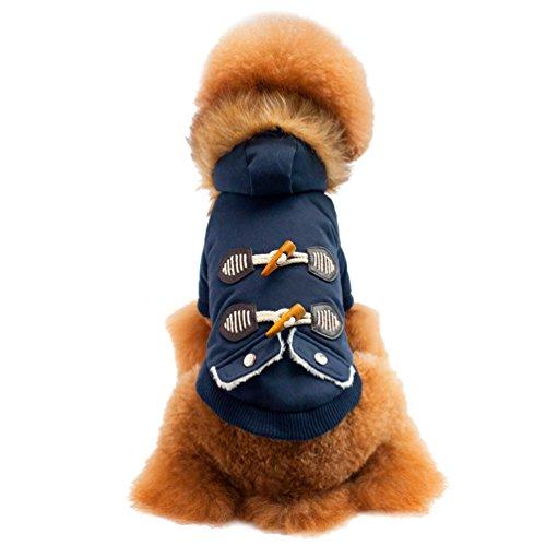 der mit Faux Fur Kapuze Gepolstert Welpen Katze Kapuzenpullis Gepolstert HundeKleidung (Blau, 44*27*30 CM) (Eisbär Kostüm Für Hund)