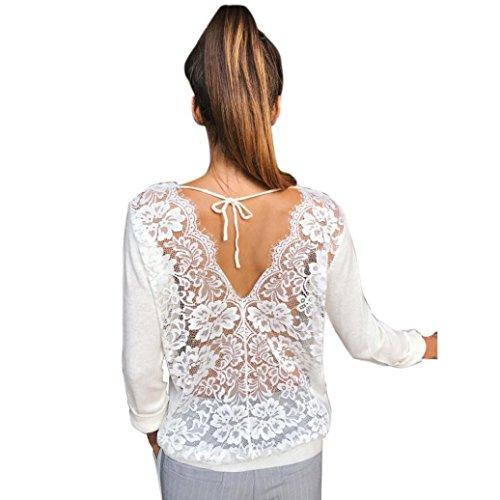 Sweatshirt damen Kolylong® Frauen Elegante Spitze Rundhals Bluse Herbst Locker Langarm Shirts Rückenfreie Hemd V-Ausschnitt T-Shirt Tank Tops Oberteile (L, Weiß)