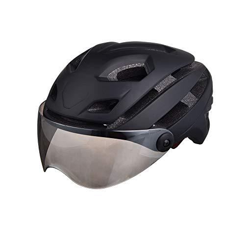 LKJCZ Casque De Bicyclette, Certifié Ce Casque De Bicyclette Réglable avec Les Lunettes Réglables Fixes De Sun Visière,Black