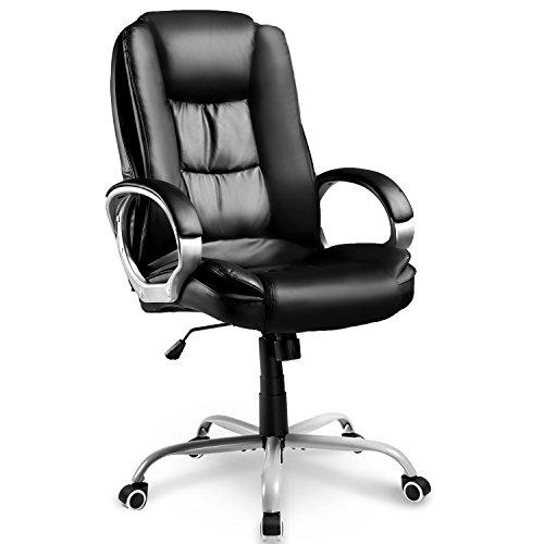 Merax Chefsessel Bürostuhl Schreibtischstuhl Bürodrehstuhl Bürosessel 360° Drehstuhl Ergonomisches Design Chefstuhl mit Hoher Rückenlehne, PU Leder, Schwarz, Stuhl bis 130kg, 78 x 71 x 108-118cm