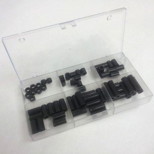 Sortiment Distanzhülsen für M6 Schrauben, 6 Längen 5mm bis 30mm, Kunststoff schwarz, je 10 STK.