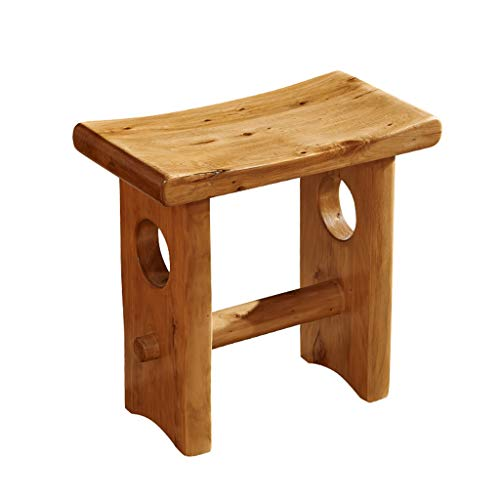 Dressing Hocker Kleiner Hocker Holz Hocker Schreibtischhocker Cypress Wood Bench Furniture (Color : Wood Color, Size : 44 * 24 * 42CM) - Cypress Leder