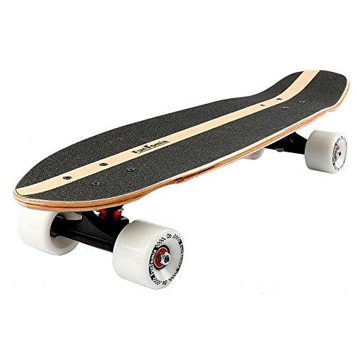 FunTomia Midi-Board Cruiser Skateboard 65cm aus 7-lagigem kanadischem Ahornholz / oder 5-lagen kanadischem Ahornholz und 2-lagen Bambusholz inkl. ABEC-11 MACH1 Kugellager - mit oder ohne LED Rollen (Psycho / mit weißen Rollen (ohne LED) / aus Ahorn und Bambusholz) -