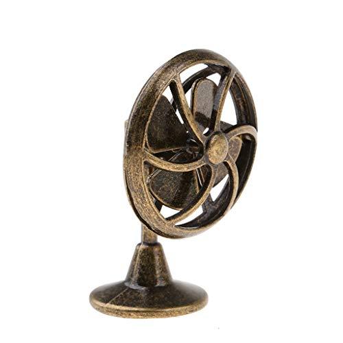 Perfeclan Miniatur Tischventilator Ventilator Lüfter Haushaltsgerät für 1/12 Puppenhaus Alle Zimmer Zubehör Deko - Bronze - Bronze-lüfter