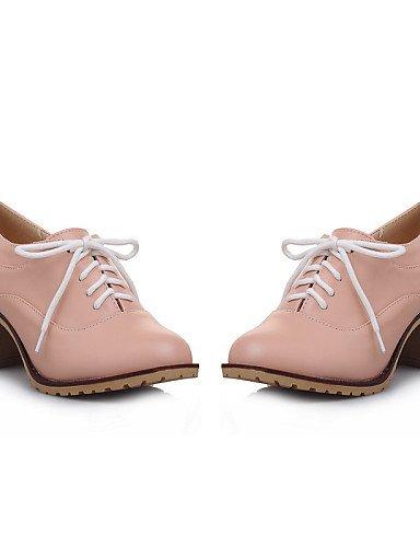 ZQ Scarpe Donna - Stringate - Tempo libero / Ufficio e lavoro / Casual - Comoda / Punta arrotondata / Chiusa - Quadrato - Finta pelle -Rosa , pink-us10.5 / eu42 / uk8.5 / cn43 , pink-us10.5 / eu42 / u white-us9.5-10 / eu41 / uk7.5-8 / cn42