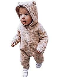 Fossen Ropa Bebe 0-3 Años Bebé Peleles de Manga Larga de Color sólido Suave Monos con Capucha Cremallera Felpa Bodies