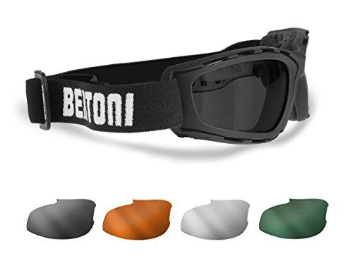 Motorradbrille 4 Beschlagfreie Wechselgläser - Winddichte Rahmen - Bertoni AF120B