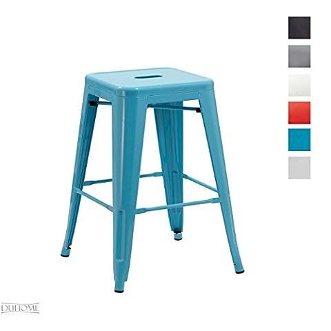 Tabouret de bar métal au design industry bleu empilable sélection de couleurs chaise en fer rétro