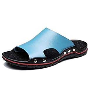 Dnliuw Herren PU Lässige Hausschuhe, Sommer rutschfeste Sandalen Atmungsaktive Sandalen Mode Strandschuhe Watschuhe