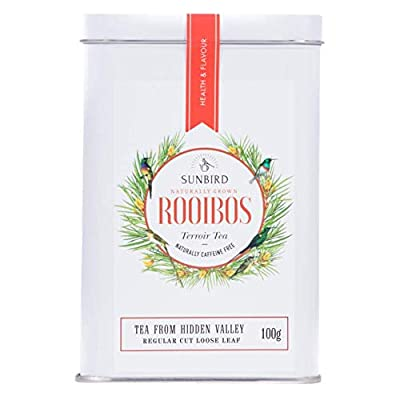 Sunbird Rooibos Hidden Valley Rooibos Nature Vrac Feuilles entières - Certifié Bio - Riche en antioxydants - Sans caféine - Relaxant - Detoxifiant - Healthy Tea - 100 g