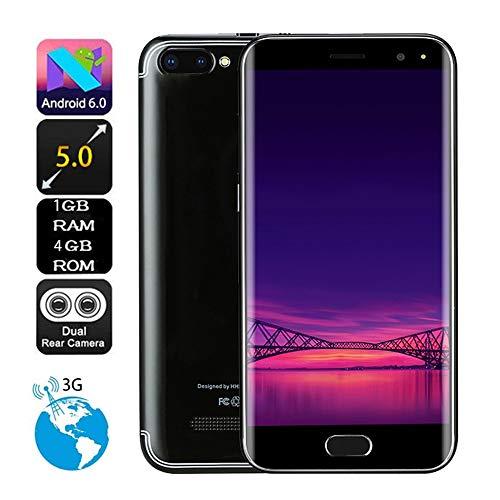 TianranRT 5,0 Zoll Dual HD Kamera Smartphone Android 6.0 1G + 4G GPS 3G Anruf Handy (Schwarz)